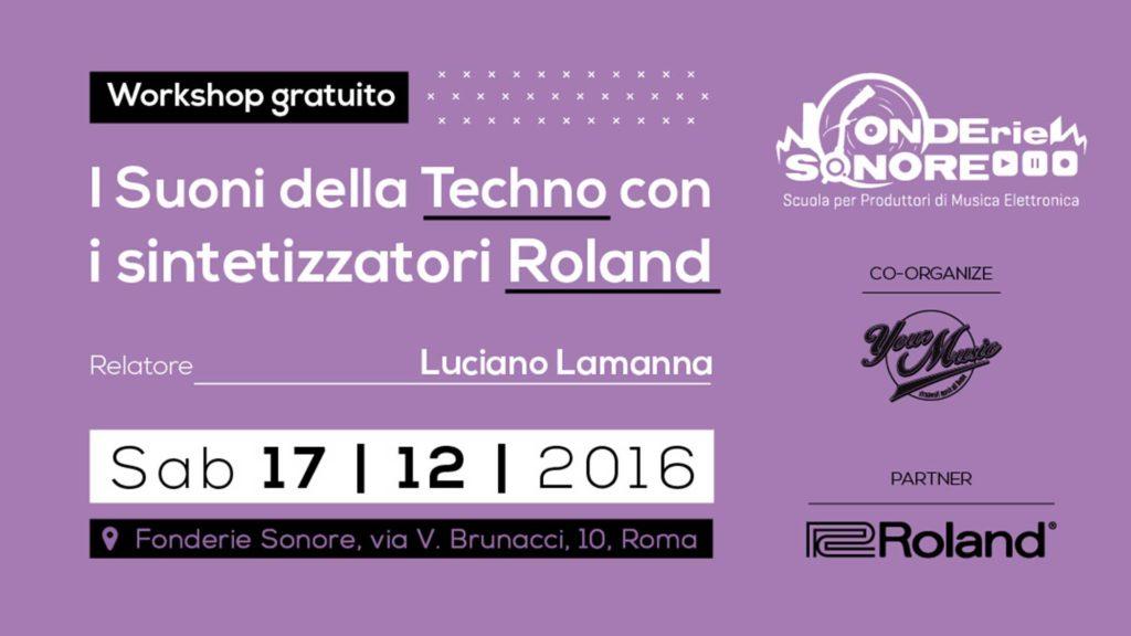 Sab 17/12: I Suoni della Techno con i sintetizzatori Roland